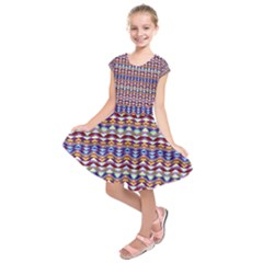 Ethnic Colorful Pattern Kids  Short Sleeve Dress