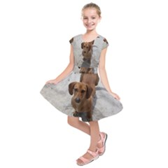 Dachshund Full Kids  Short Sleeve Dress