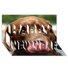 Chocolate Lab Happy New Year 3D Greeting Card (8x4)