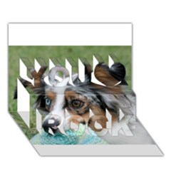 Blue Merle Miniature American Shepherd You Rock 3D Greeting Card (7x5)