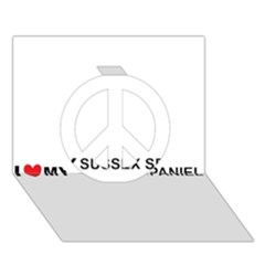 I Love My Sussex Spaniel Peace Sign 3D Greeting Card (7x5)