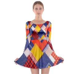 Background Fabric Multicolored Patterns Long Sleeve Skater Dress