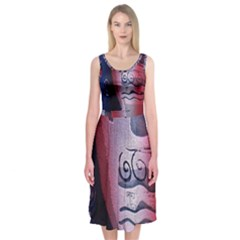 Background Fabric Patterned Blue, White And Red Midi Sleeveless Dress