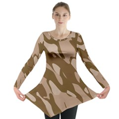 Background For Scrapbooking Or Other Beige And Brown Camouflage Patterns Long Sleeve Tunic