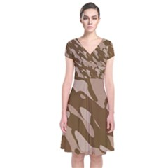 Background For Scrapbooking Or Other Beige And Brown Camouflage Patterns Short Sleeve Front Wrap Dress