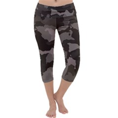 Background For Scrapbooking Or Other Camouflage Patterns Beige And Brown Capri Yoga Leggings
