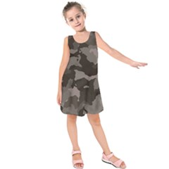 Background For Scrapbooking Or Other Camouflage Patterns Beige And Brown Kids  Sleeveless Dress