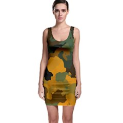 Background For Scrapbooking Or Other Camouflage Patterns Orange And Green Sleeveless Bodycon Dress
