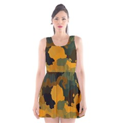 Background For Scrapbooking Or Other Camouflage Patterns Orange And Green Scoop Neck Skater Dress