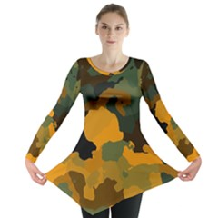 Background For Scrapbooking Or Other Camouflage Patterns Orange And Green Long Sleeve Tunic