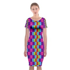 Background For Scrapbooking Or Other Patterned Wood Classic Short Sleeve Midi Dress