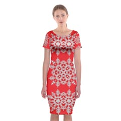 Background For Scrapbooking Or Other Stylized Snowflakes Classic Short Sleeve Midi Dress