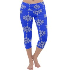 Background For Scrapbooking Or Other Snowflakes Patterns Capri Yoga Leggings