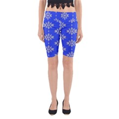 Background For Scrapbooking Or Other Snowflakes Patterns Yoga Cropped Leggings