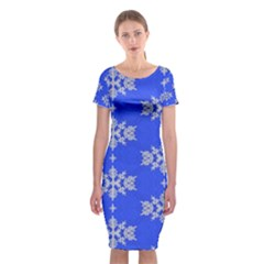 Background For Scrapbooking Or Other Snowflakes Patterns Classic Short Sleeve Midi Dress
