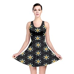 Background For Scrapbooking Or Other With Flower Patterns Reversible Skater Dress