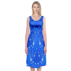 Background For Scrapbooking Or Other With Snowflakes Patterns Midi Sleeveless Dress
