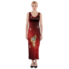 Background Fabric Fitted Maxi Dress