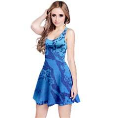 Background Tissu Fleur Bleu Reversible Sleeveless Dress