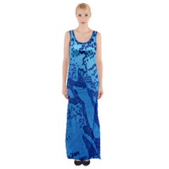 Background Tissu Fleur Bleu Maxi Thigh Split Dress