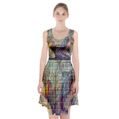 Brick Of Walls With Color Patterns Racerback Midi Dress
