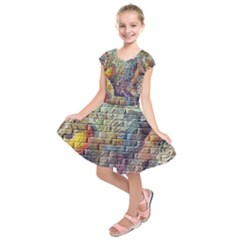 Brick Of Walls With Color Patterns Kids  Short Sleeve Dress