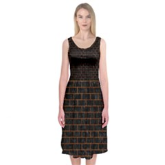 Brick1 Black Marble & Brown Marble (r) Midi Sleeveless Dress