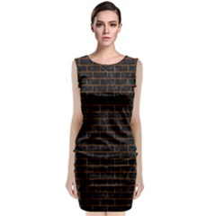 Brick1 Black Marble & Brown Marble (r) Classic Sleeveless Midi Dress