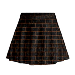 Brick1 Black Marble & Brown Marble (r) Mini Flare Skirt