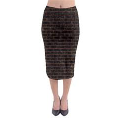 Brick1 Black Marble & Brown Marble (r) Midi Pencil Skirt