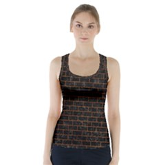 Brick1 Black Marble & Brown Marble (r) Racer Back Sports Top
