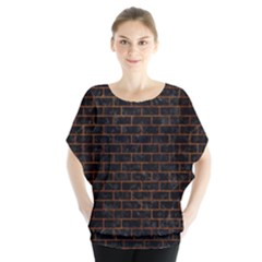 Brick1 Black Marble & Brown Marble (r) Batwing Chiffon Blouse