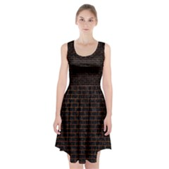 Brick1 Black Marble & Brown Marble (r) Racerback Midi Dress