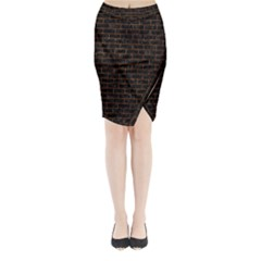 Brick1 Black Marble & Brown Marble (r) Midi Wrap Pencil Skirt