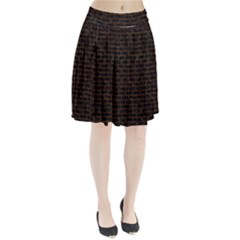 Brick1 Black Marble & Brown Marble (r) Pleated Skirt