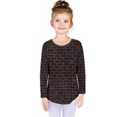 Brick1 Black Marble & Brown Marble (r) Kids  Long Sleeve Tee