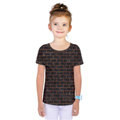 Brick1 Black Marble & Brown Marble (r) Kids  One Piece Tee