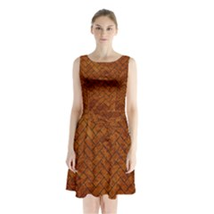 Brick2 Black Marble & Brown Marble Sleeveless Waist Tie Chiffon Dress