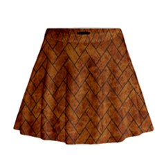 Brick2 Black Marble & Brown Marble Mini Flare Skirt