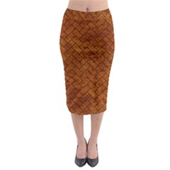 Brick2 Black Marble & Brown Marble Midi Pencil Skirt