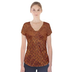 Brick2 Black Marble & Brown Marble Short Sleeve Front Detail Top