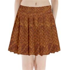 Brick2 Black Marble & Brown Marble Pleated Mini Skirt