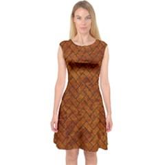 Brick2 Black Marble & Brown Marble Capsleeve Midi Dress
