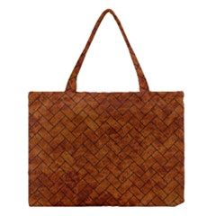 Brick2 Black Marble & Brown Marble Medium Tote Bag