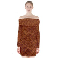 Brick2 Black Marble & Brown Marble Long Sleeve Off Shoulder Dress