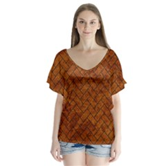 Brick2 Black Marble & Brown Marble V Neck Flutter Sleeve Top