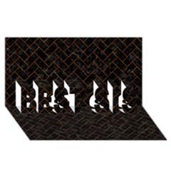 Brick2 Black Marble & Brown Marble (r) Best Sis 3d Greeting Card (8x4)