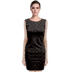 Brick2 Black Marble & Brown Marble (r) Classic Sleeveless Midi Dress