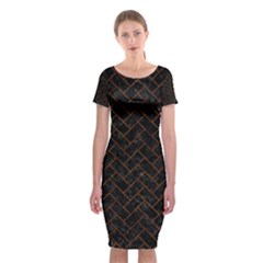 Brick2 Black Marble & Brown Marble (r) Classic Short Sleeve Midi Dress