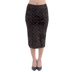 Brick2 Black Marble & Brown Marble (r) Midi Pencil Skirt